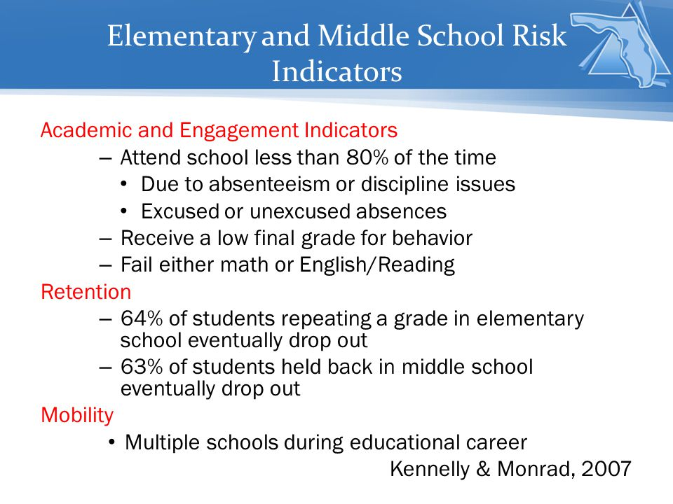 Elementary and Middle School Risk Indicators
