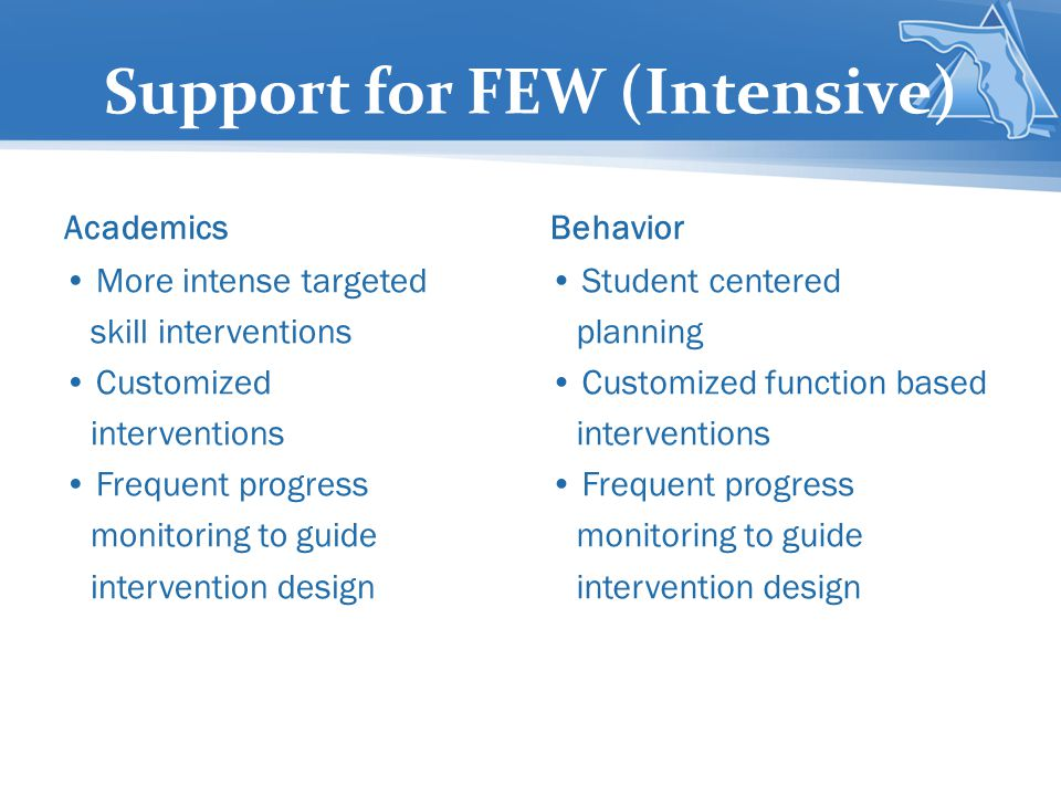 Support for FEW (Intensive)