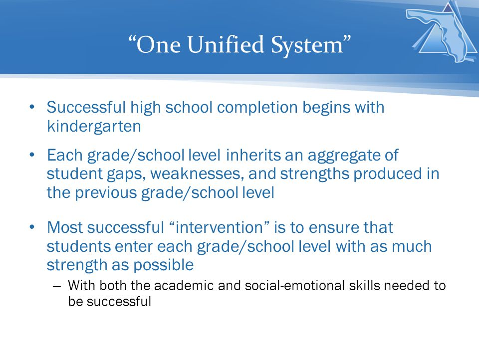 One Unified System Successful high school completion begins with kindergarten.