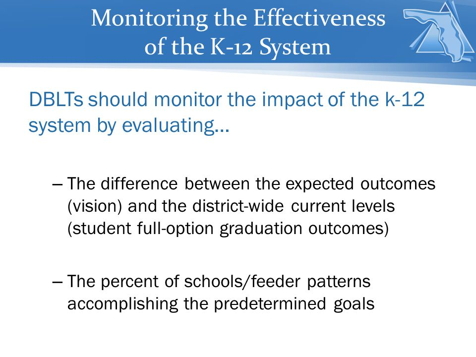 Monitoring the Effectiveness of the K-12 System