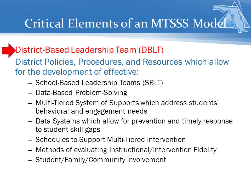 Critical Elements of an MTSSS Model