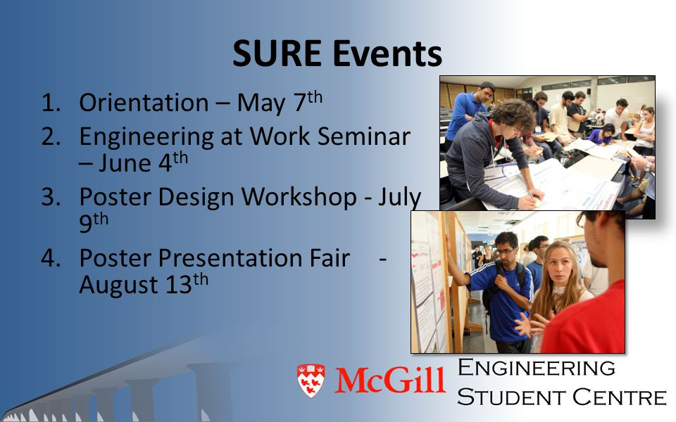 SURE Events Orientation – May 7th