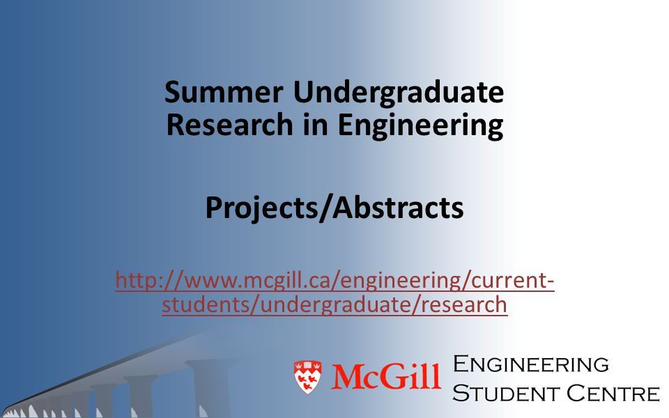 Summer Undergraduate Research in Engineering