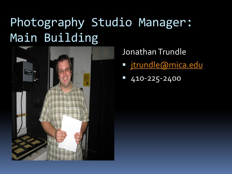 Photography Studio Manager: Main Building