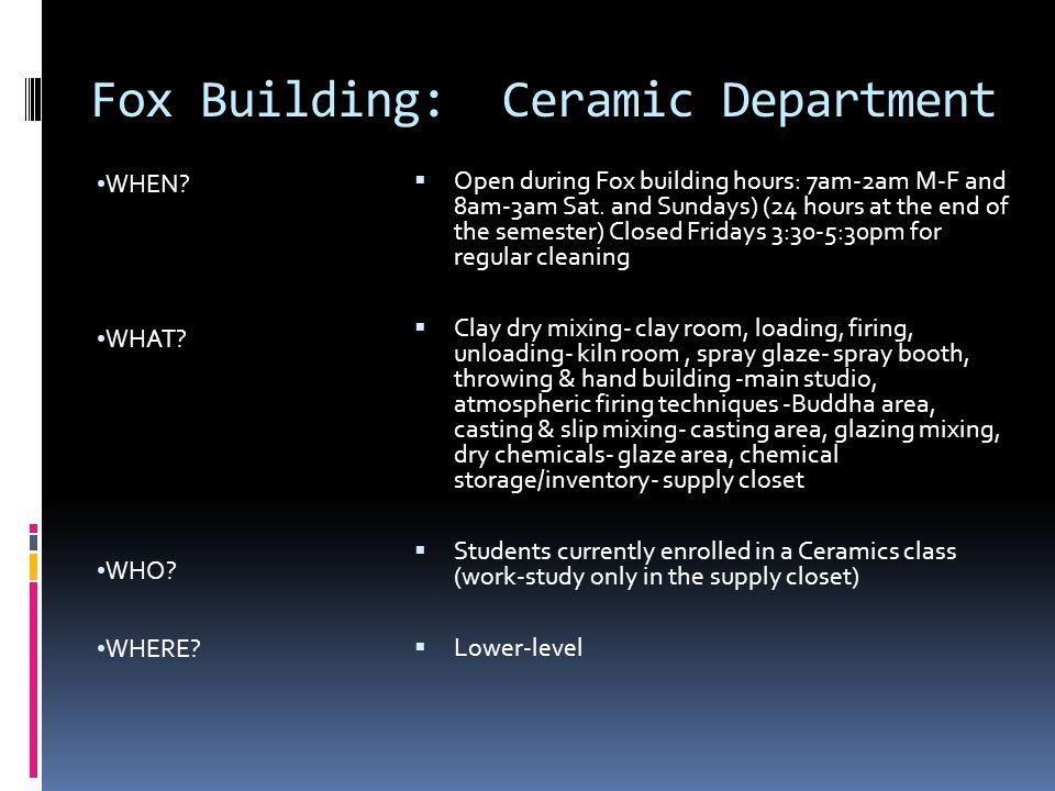 Fox Building: Ceramic Department