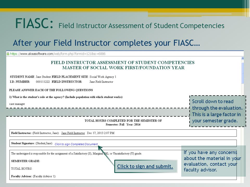 FIASC: Field Instructor Assessment of Student Competencies