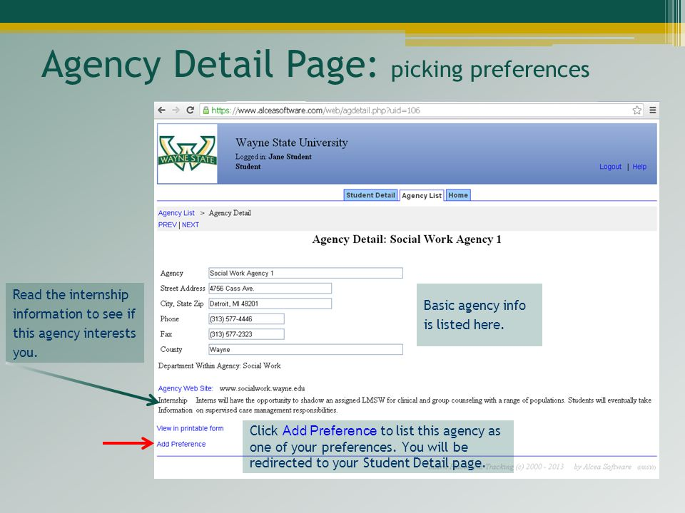 Agency Detail Page: picking preferences
