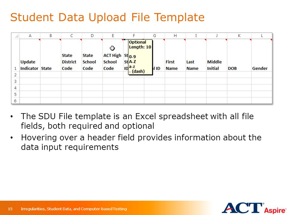 Student Data Upload File Template