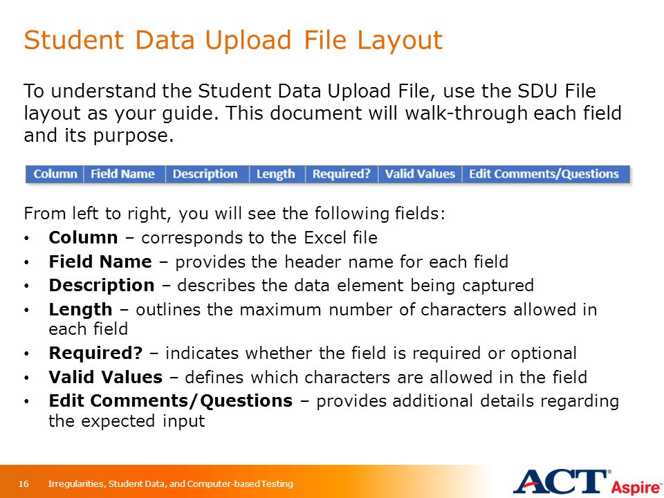 Student Data Upload File Layout