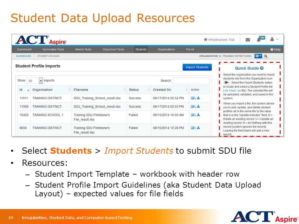 Student Data Upload Resources
