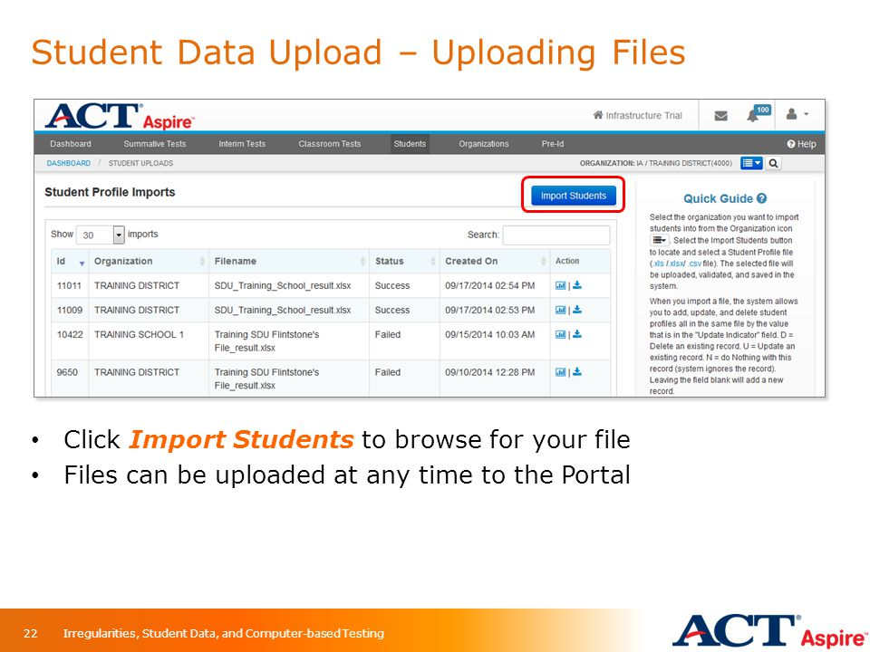Student Data Upload – Uploading Files