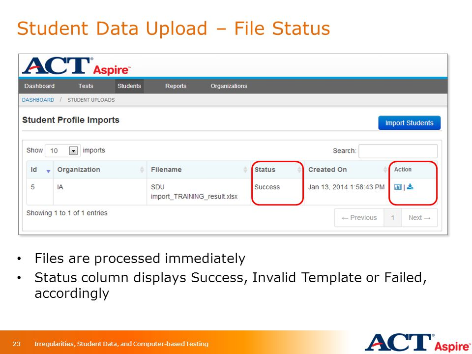 Student Data Upload – File Status
