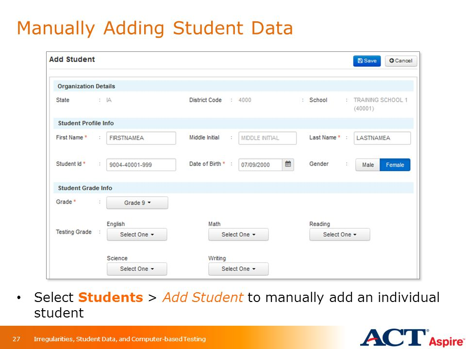 Manually Adding Student Data