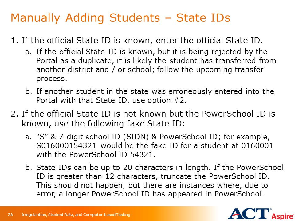 Manually Adding Students – State IDs