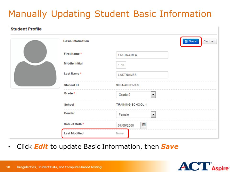 Manually Updating Student Basic Information