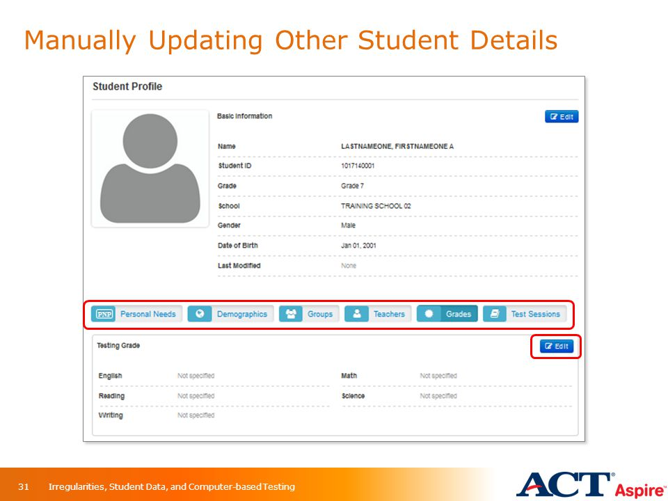 Manually Updating Other Student Details