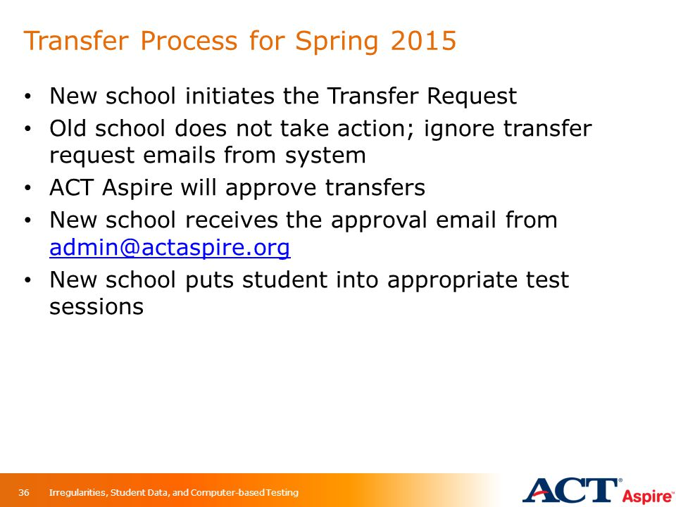 Transfer Process for Spring 2015