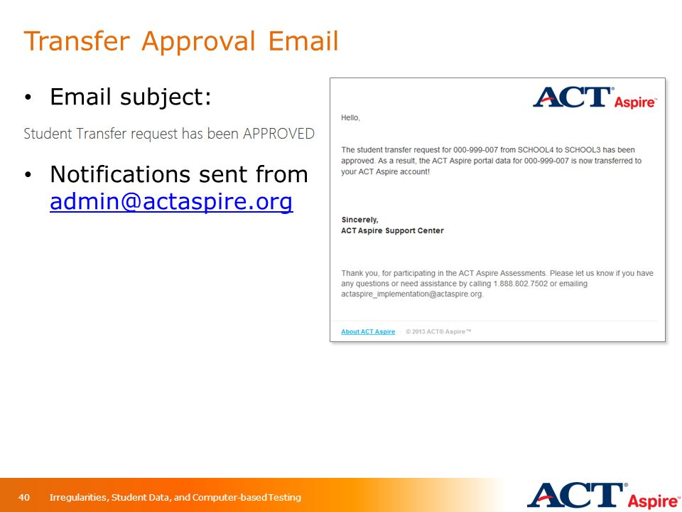 Transfer Approval Email