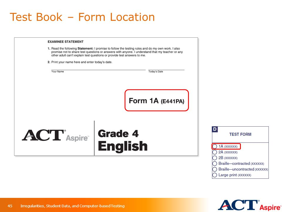 Test Book – Form Location