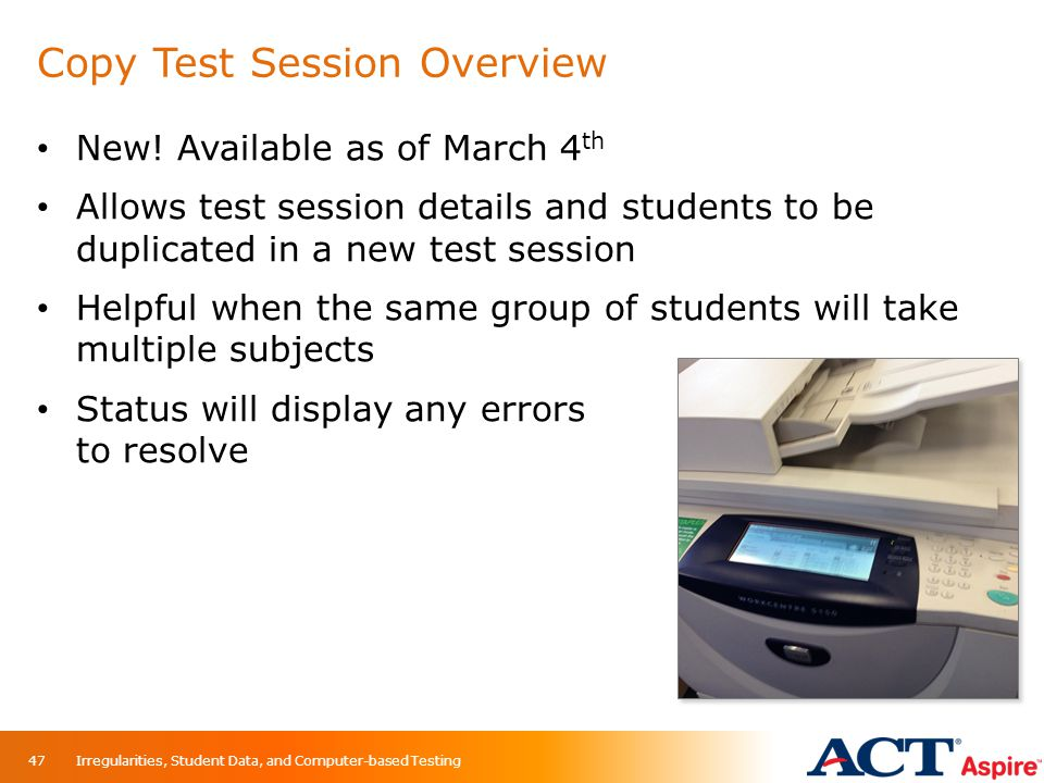 Copy Test Session Overview