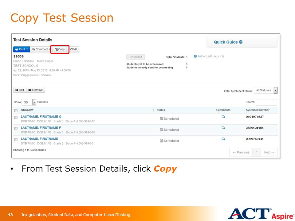 Copy Test Session From Test Session Details, click Copy