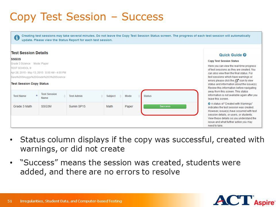 Copy Test Session – Success