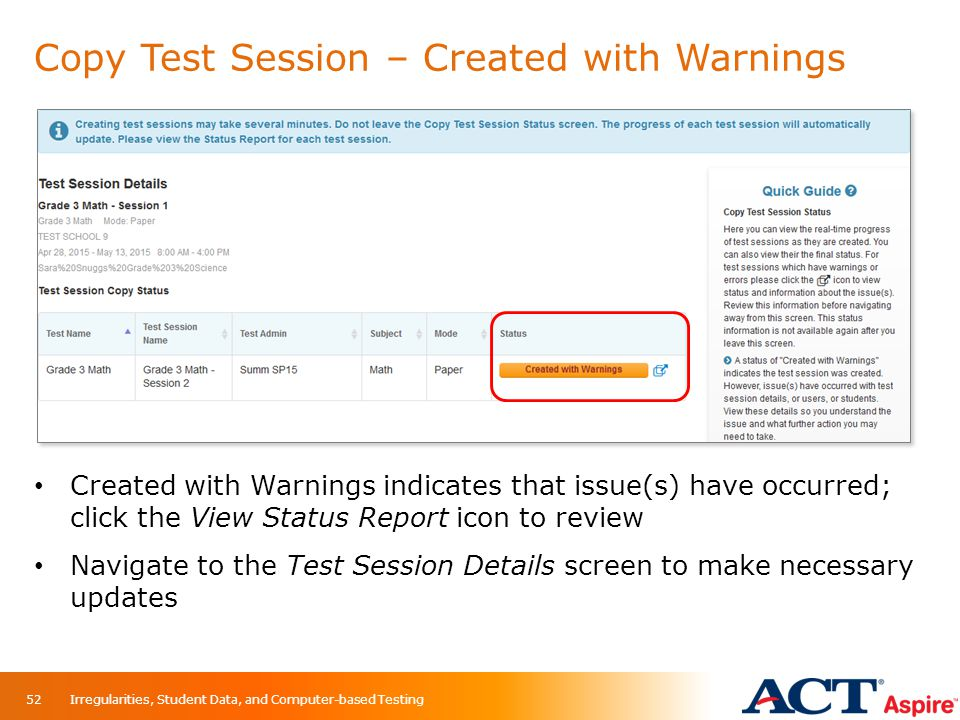 Copy Test Session – Created with Warnings