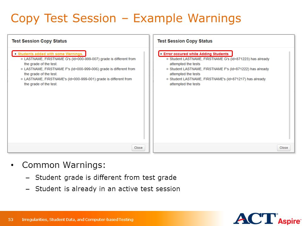 Copy Test Session – Example Warnings