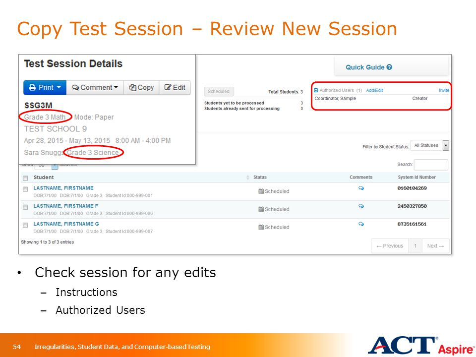 Copy Test Session – Review New Session