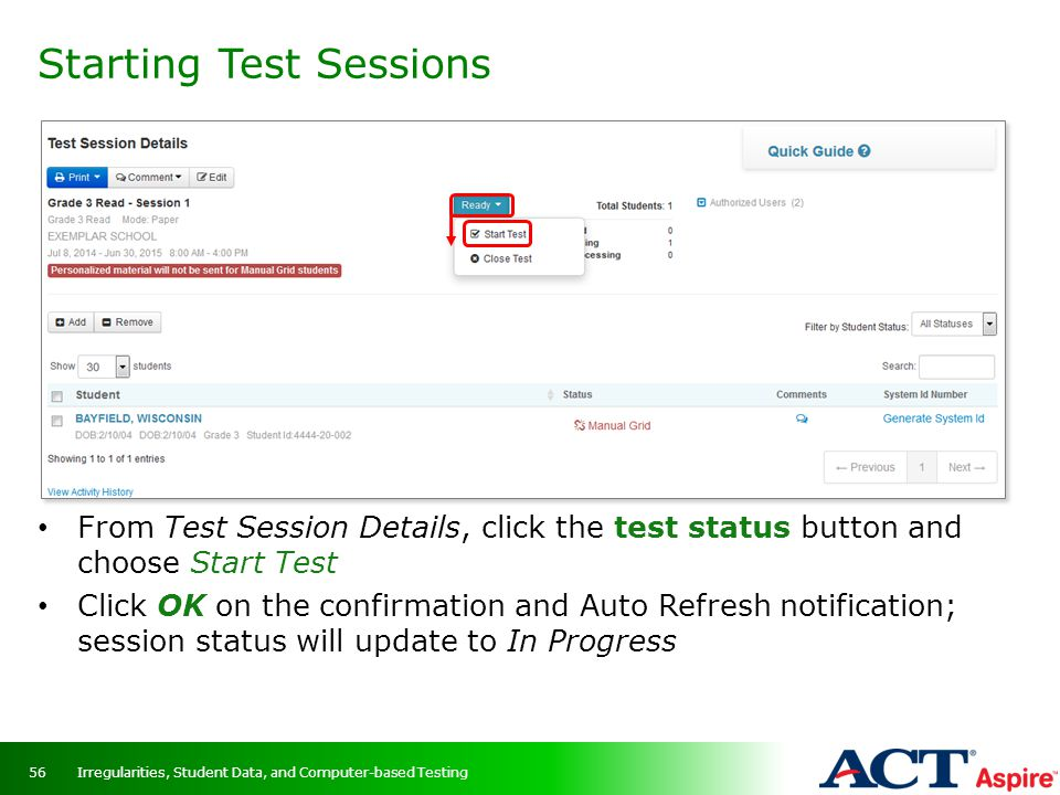 Starting Test Sessions