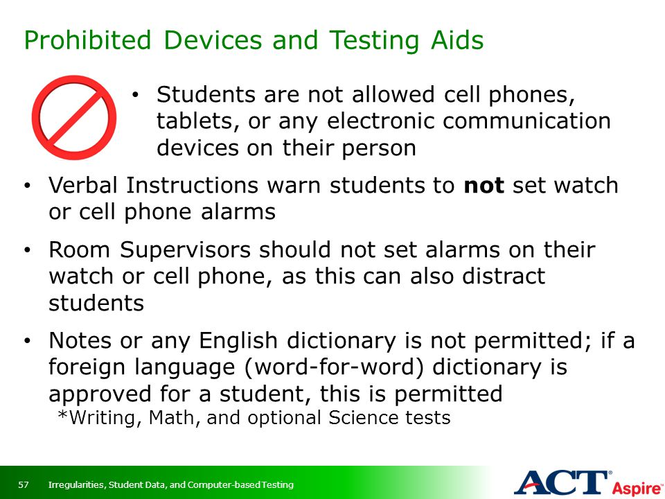 Prohibited Devices and Testing Aids