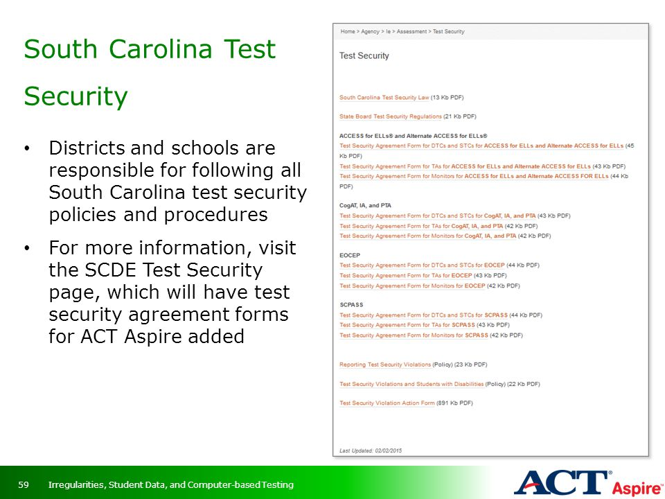 South Carolina Test Security
