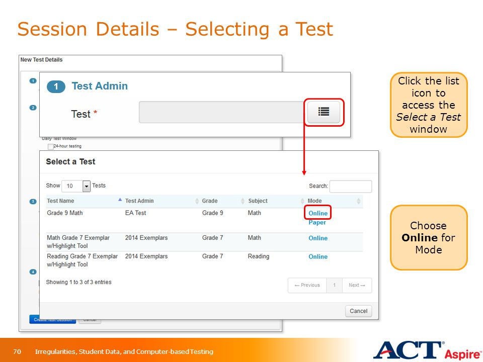 Session Details – Selecting a Test