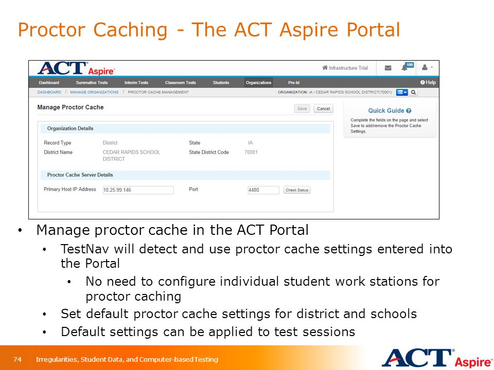 Proctor Caching - The ACT Aspire Portal