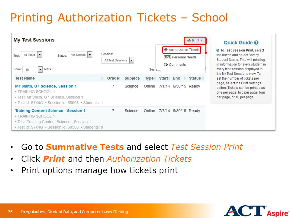 Printing Authorization Tickets – School