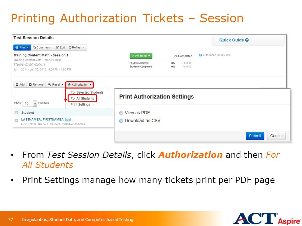 Printing Authorization Tickets – Session