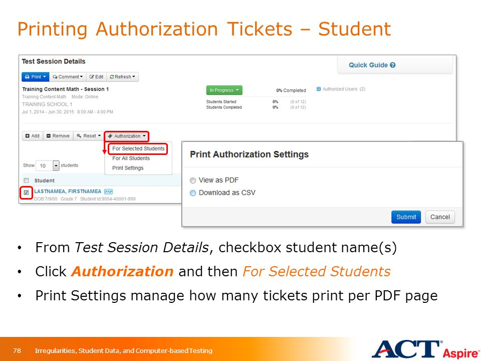 Printing Authorization Tickets – Student