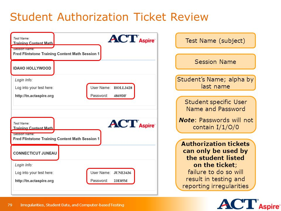 Student Authorization Ticket Review