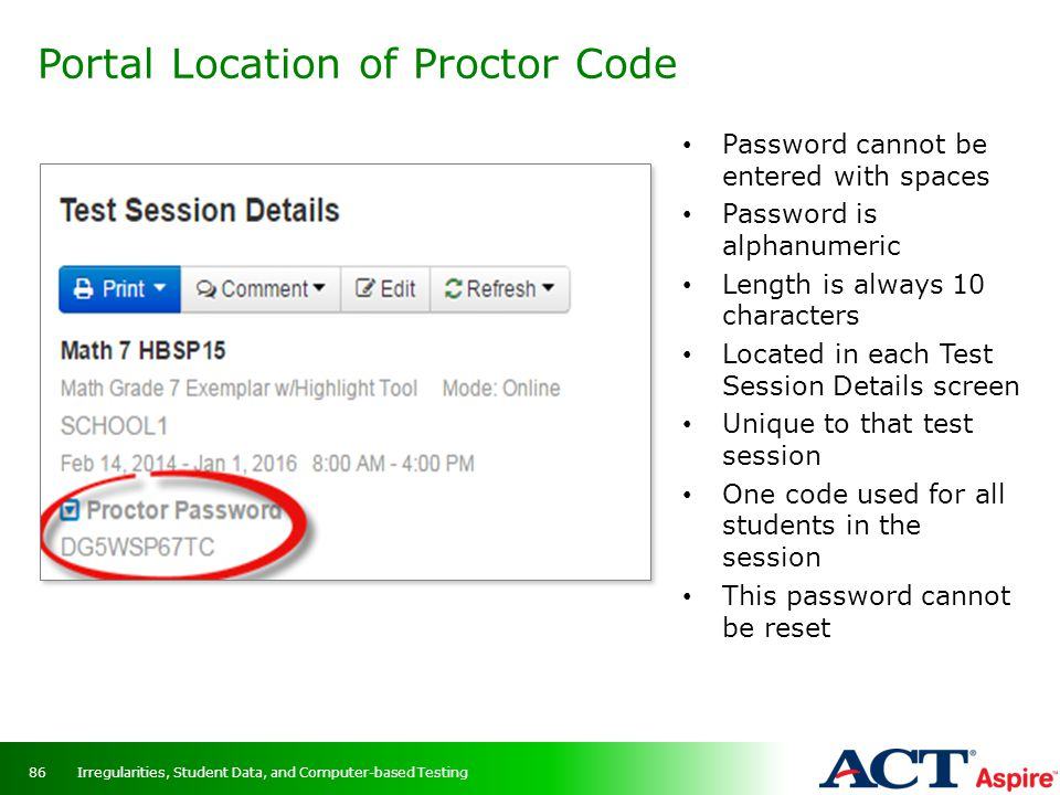 Portal Location of Proctor Code
