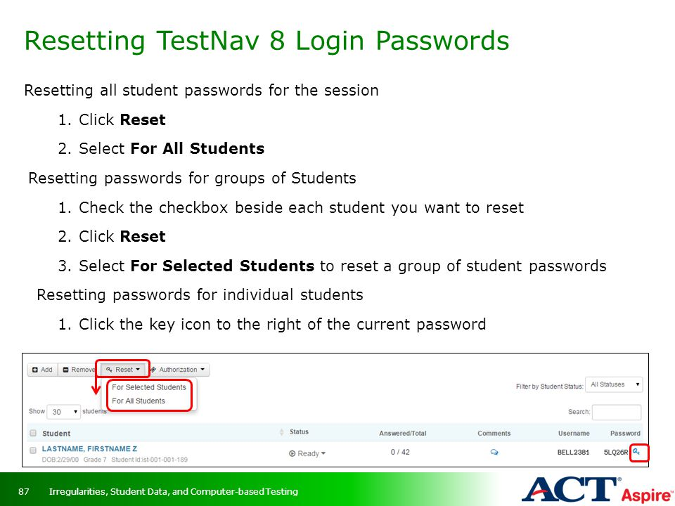 Resetting TestNav 8 Login Passwords
