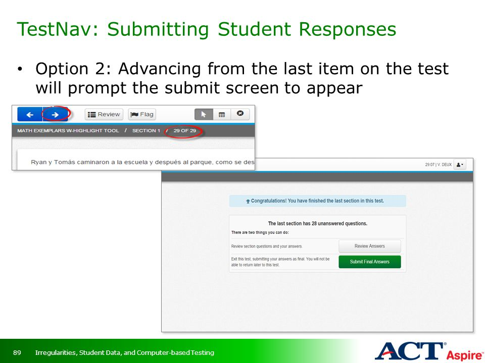 TestNav: Submitting Student Responses