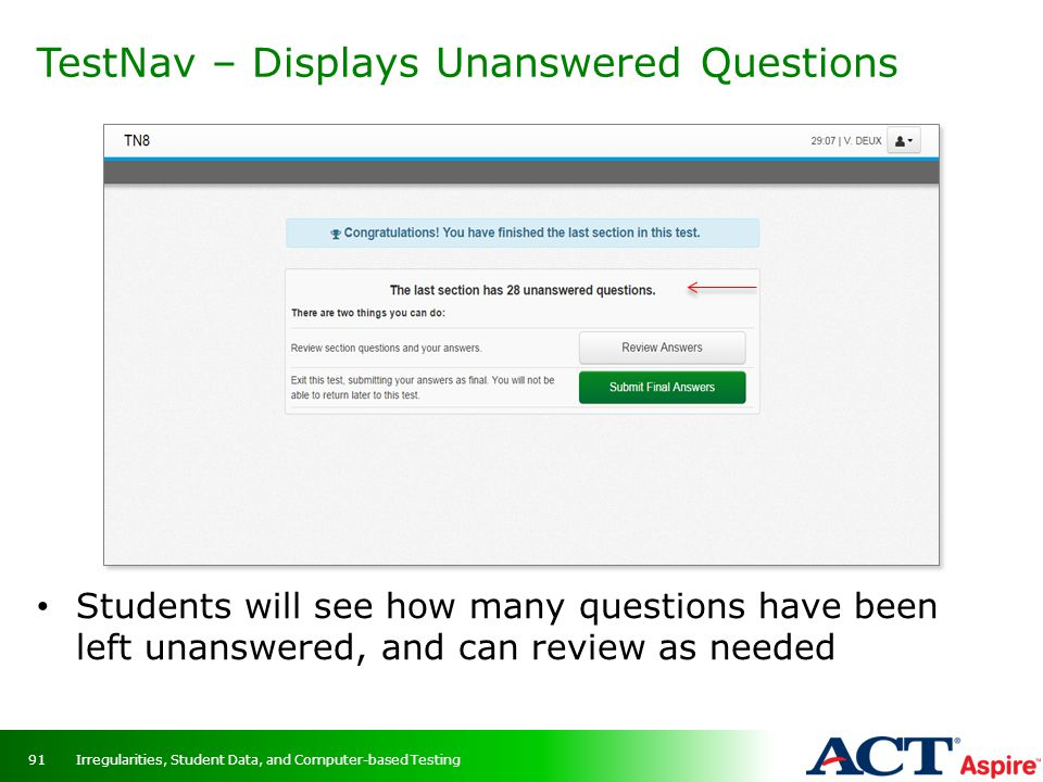 TestNav – Displays Unanswered Questions