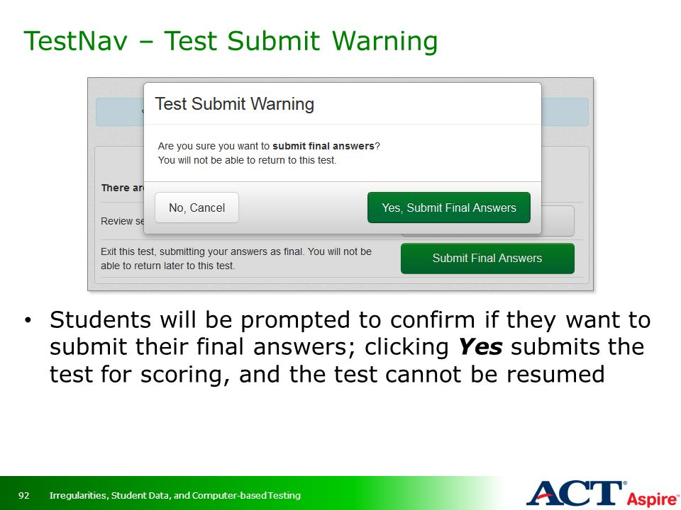 TestNav – Test Submit Warning