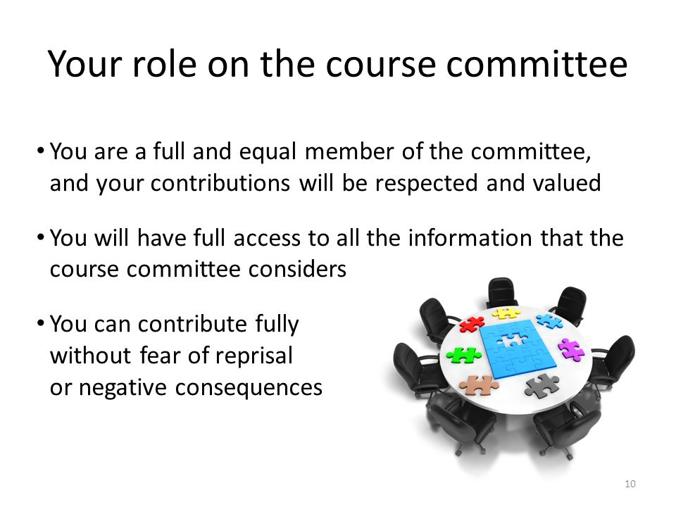 Your role on the course committee