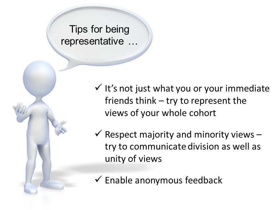 Tips for being representative …