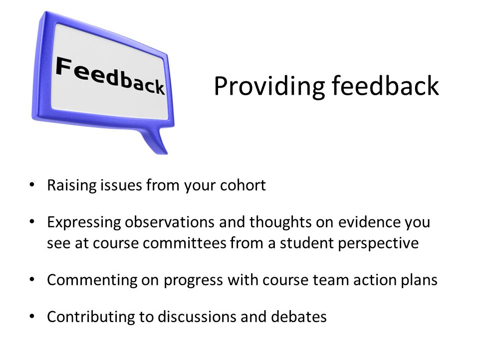 Providing feedback Raising issues from your cohort