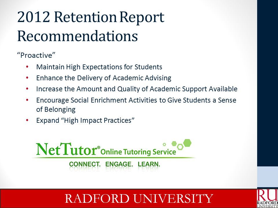2012 Retention Report Recommendations