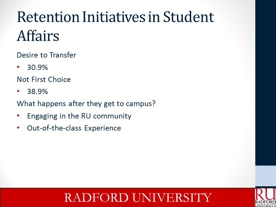 Retention Initiatives in Student Affairs