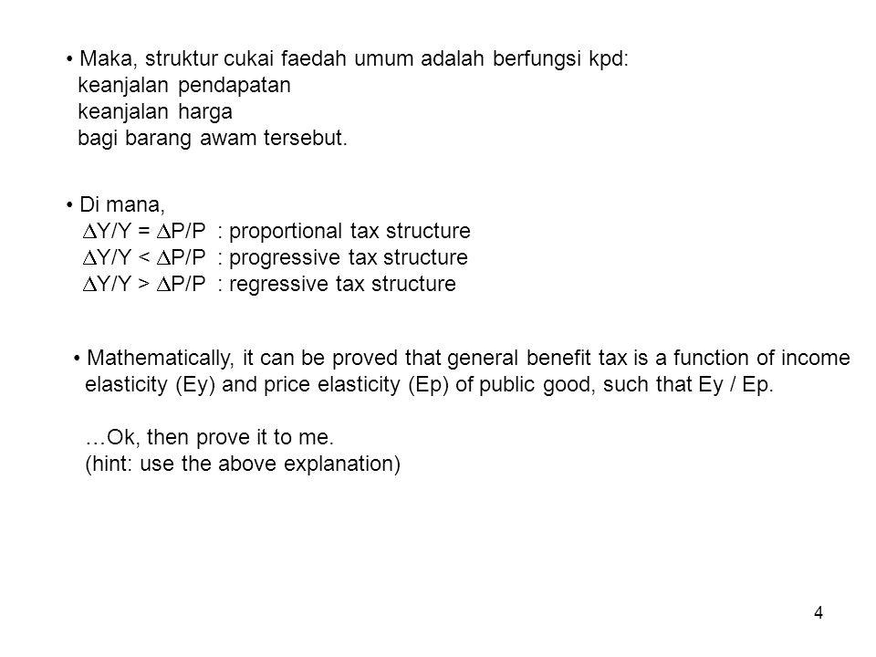 Maka, struktur cukai faedah umum adalah berfungsi kpd: