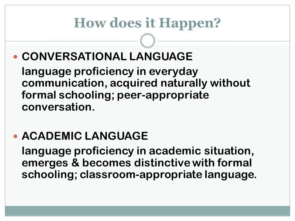 How does it Happen CONVERSATIONAL LANGUAGE